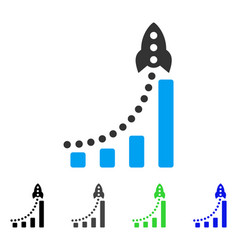 Rocket success bar chart flat icon vector