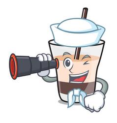 Sailor with binocular white russian mascot cartoon vector