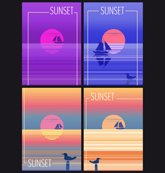 set cards minimalist sunset in the sea ocean vector image