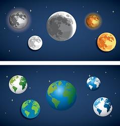 set globe and moon icon vector image