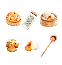 Set isolated watercolor steamed bun tart for vector