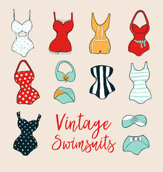Set of 10 cute stylish hand drawn swimsuits vector