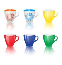 Set of colored cups isolated on white background vector image