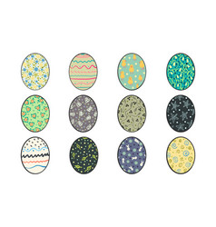set of hand painted easter eggs vector image