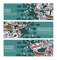 Set of horizontal banners about sea transport vector