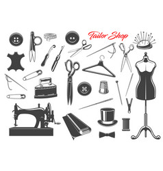 sewing tools and needle threads buttons pins vector image