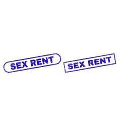 Sex rent blue rectangle stamp with unclean surface vector