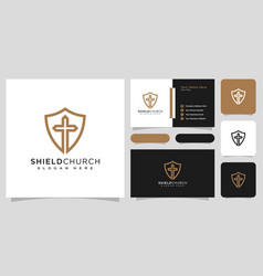 shield church line style logo design vector image