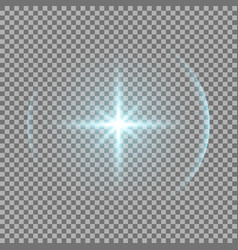 shining star with a glare aqua color vector image