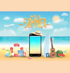 smartphone and summer object with bright summer se vector image