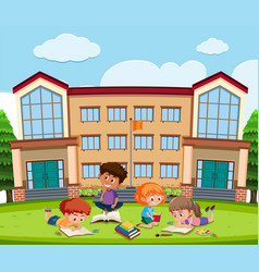 Student learning in front school vector