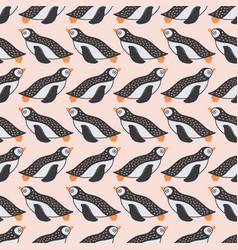 Sweet swimming penguin seamless repeat pattern vector