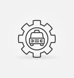 taxi car in cog wheel concept icon in thin vector image