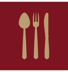 The spoon and fork and knife icon vector