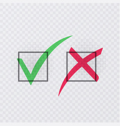 Tick and cross signs green checkmark ok and red x vector