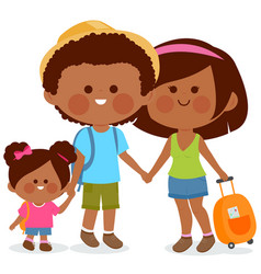 tourist family with travel bags vector image