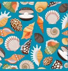 Travel background with sea shells vector