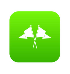 Two flags icon digital green vector