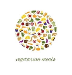 vegetarian meals icons in circle vector image