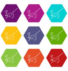 Velociraptor icons set 9 vector