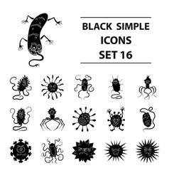 Viruses and bacteries set icons in black style vector