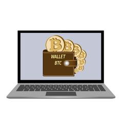 Wallet with bitcoin coins on a laptop screen vector