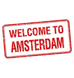 welcome to Amsterdam red grunge square stamp vector image
