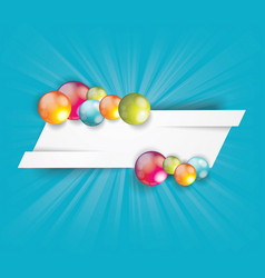 white cut banner with bright glossy balls vector image