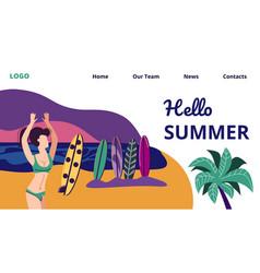 Woman in bikini dancing on beach surfers party vector