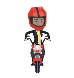 Woman riding motorcycle at night vector