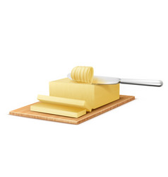 Yellow stick of butter with metal knife vector