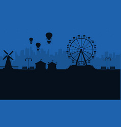 amusement park at night scenery silhouettes vector image vector image