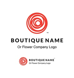 Beautiful contour red logo with rose flower for vector