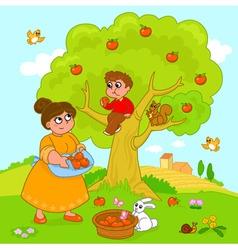 Big apple tree vector image vector image