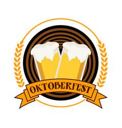 Circular oktoberfest festival emblem badge design vector