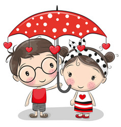 cute boy and girl with umbrella vector image vector image