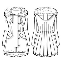 front and back view of a winter coat with fur vector image