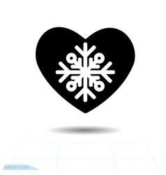 heart black charming snowflake design elements vector image