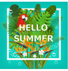 Hello summer background with tropical plants vector image vector image
