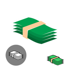 money stack green color icon vector image