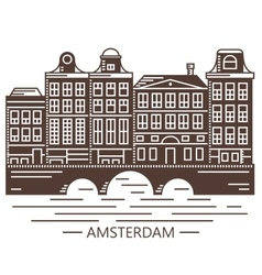 Old Amsterdam Holland houses on bridge set vector image vector image