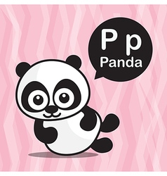 P Panda color cartoon and alphabet for children to vector image vector image