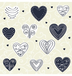 Romantic pattern with hand drawn hearts vector image vector image