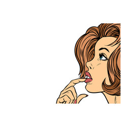 beautiful woman face thinking neutral background vector image