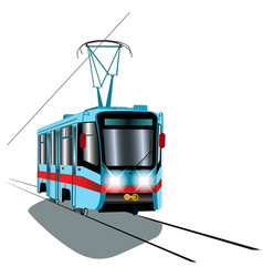 blue tram with red stripe vector image