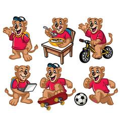 cartoon character set of cute little lion vector image