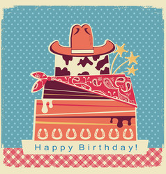 cowboy happy birthday party card background with vector image vector image