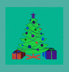Flat shading style icon christmas tree gifts vector