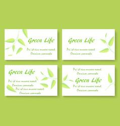 green tea business card template set vector image vector image