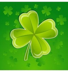 Greeting card with leaf of clover vector image vector image